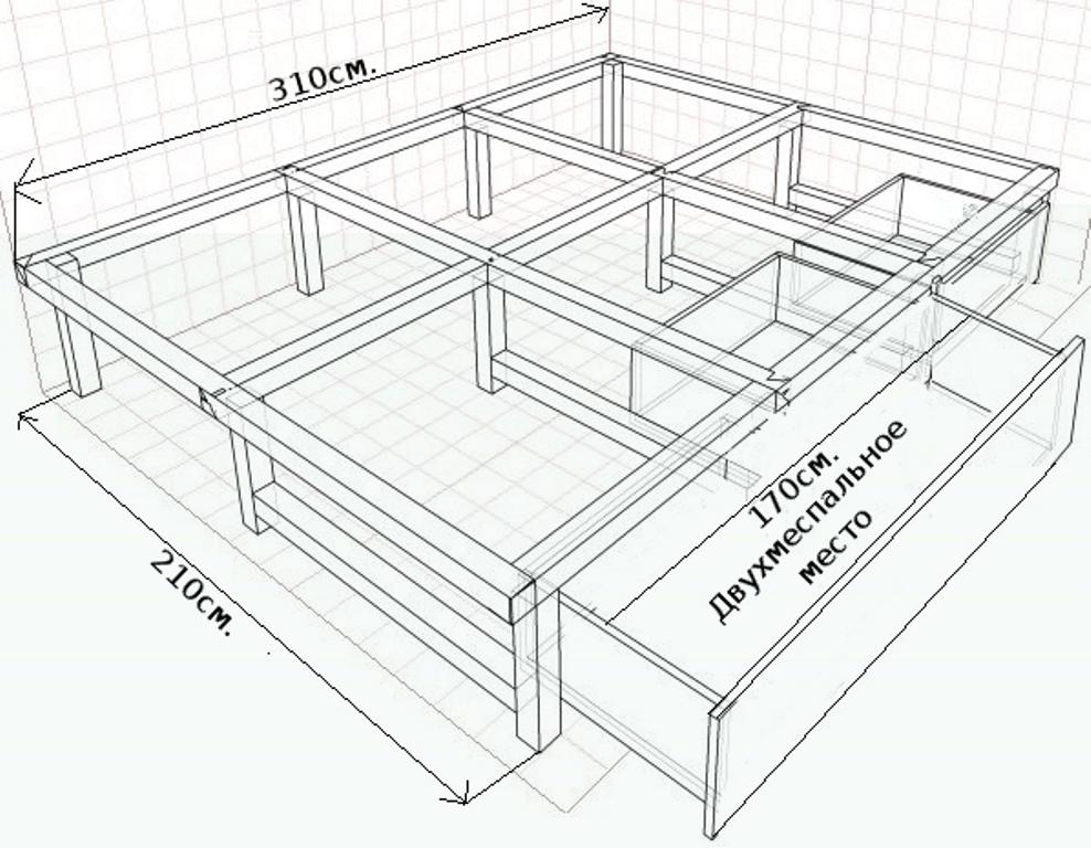 кровать подиум схема