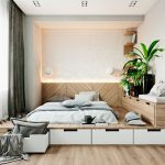 кровать с ящиками интерьер