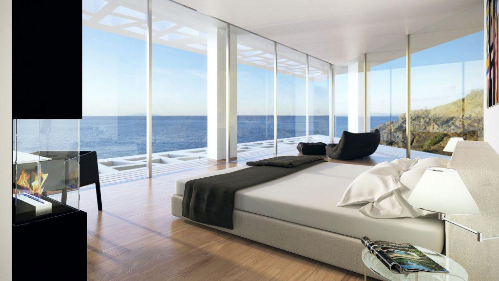 кровать в комнате с панорамой