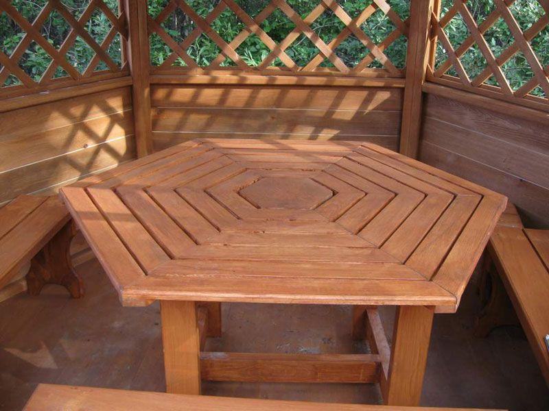 шестигранный стол для беседки