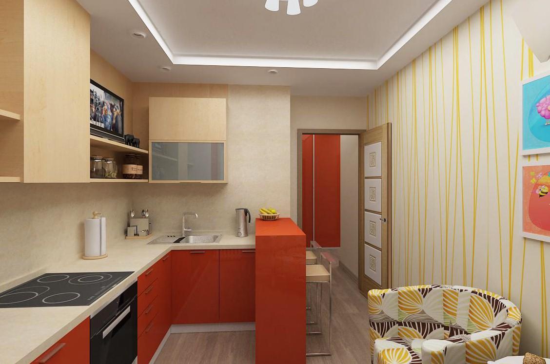 кухня 9 кв м с барной стойкой