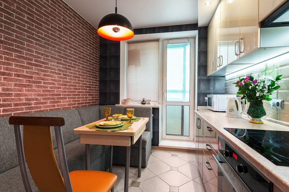 кухня 9 кв м с диваном фото дизайна
