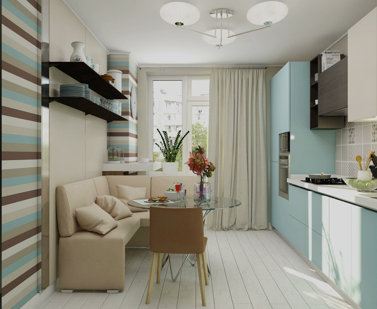 кухня 9 кв м с диваном фото