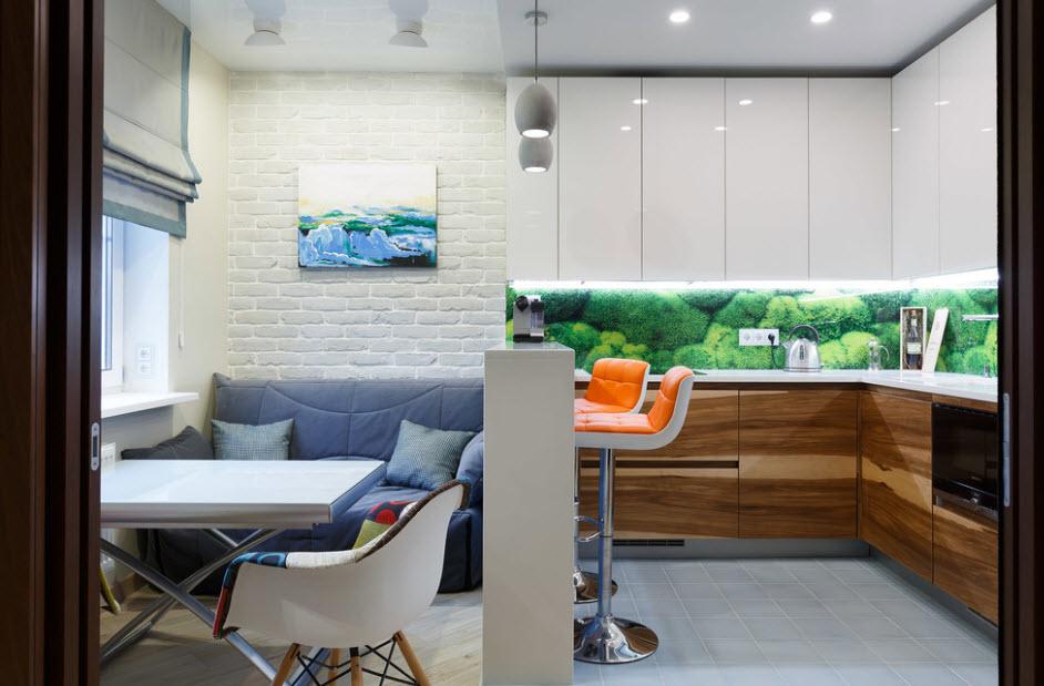 кухня 9 кв м с диваном освещение
