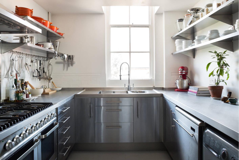 кухня без верхних шкафов п-образная