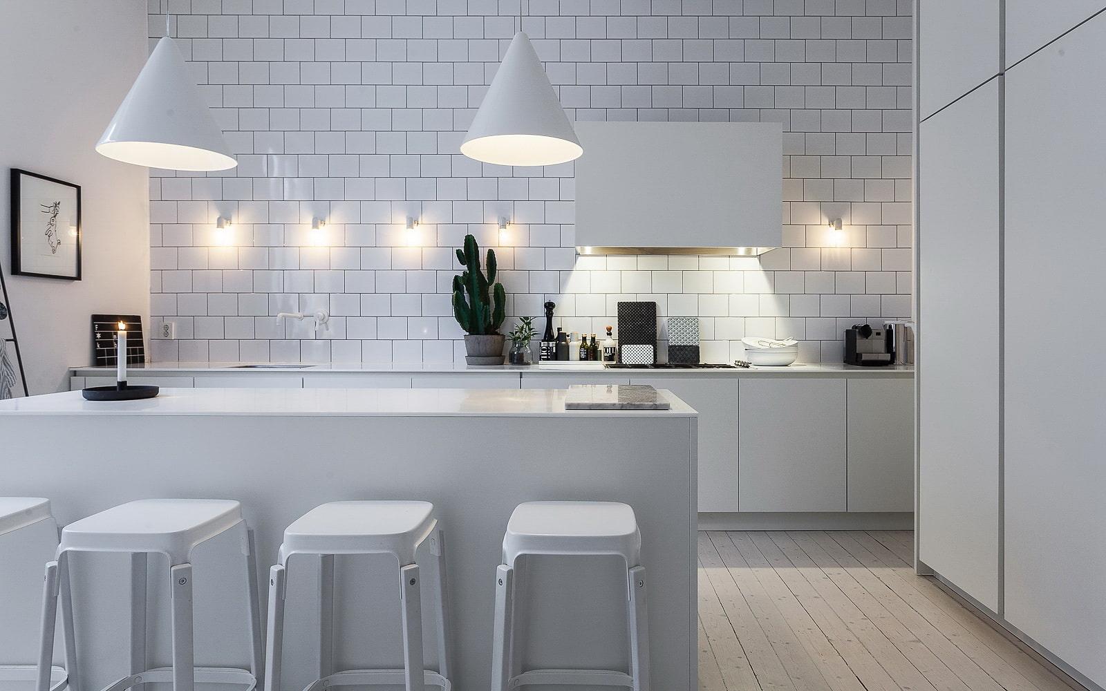 кухня без верхних шкафов с островом фото