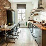 кухня без верхних шкафов стиль лофт