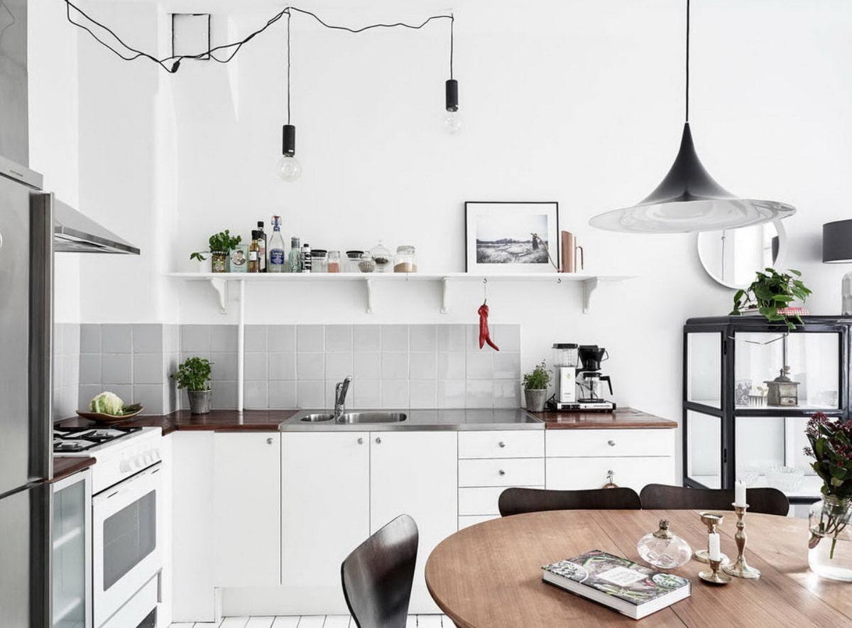 кухня без верхних шкафов угловая фото