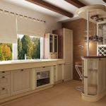 кухня без верхних шкафов в бежевых тонах