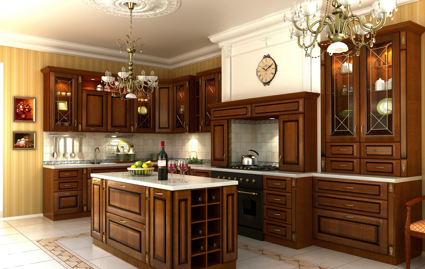 кухня из массива дерева дизайн