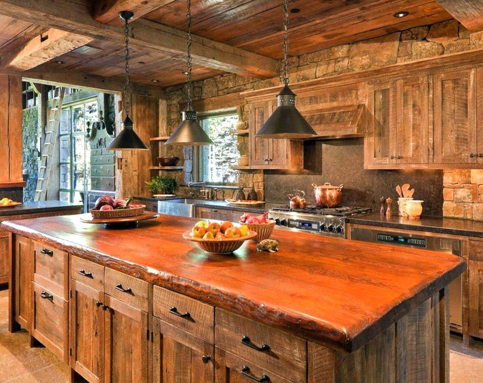 кухня из массива дерева фото