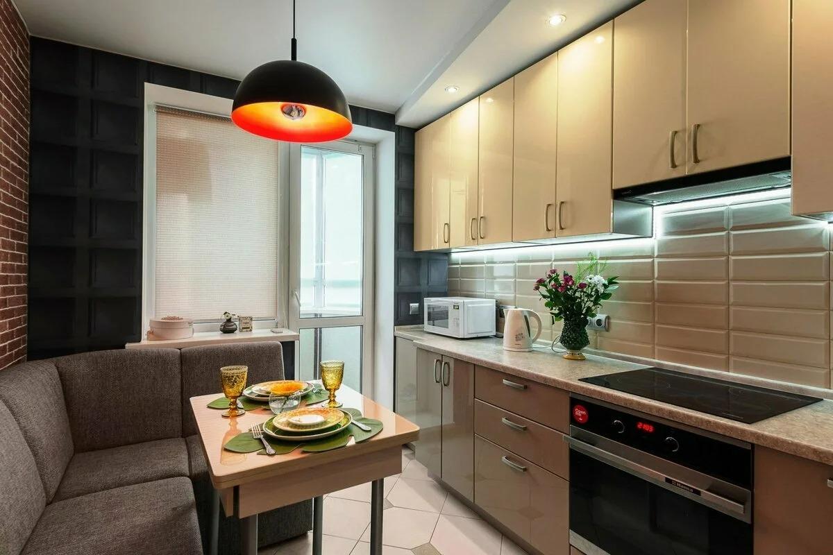 линейная кухня 9 кв м с диваном