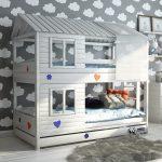 детская двухъярусная кровать-домик