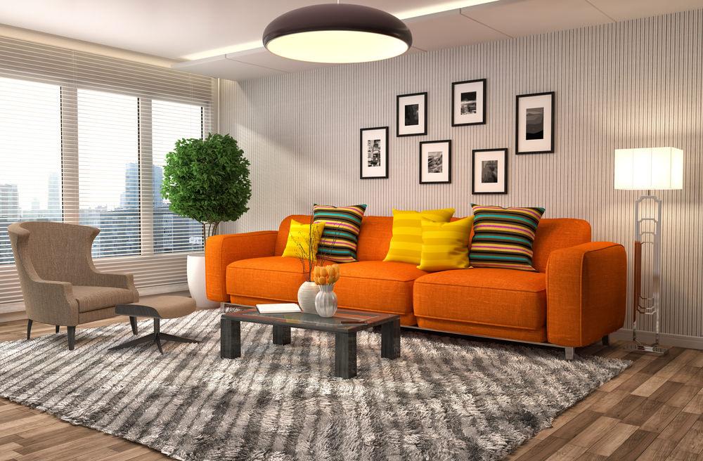 оранжевый прямой диван
