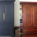 отреставрированный шкаф до и после