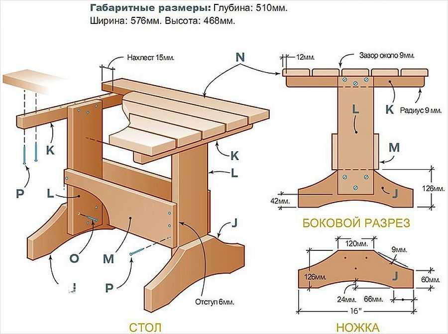 подробный чертеж деревянного стола