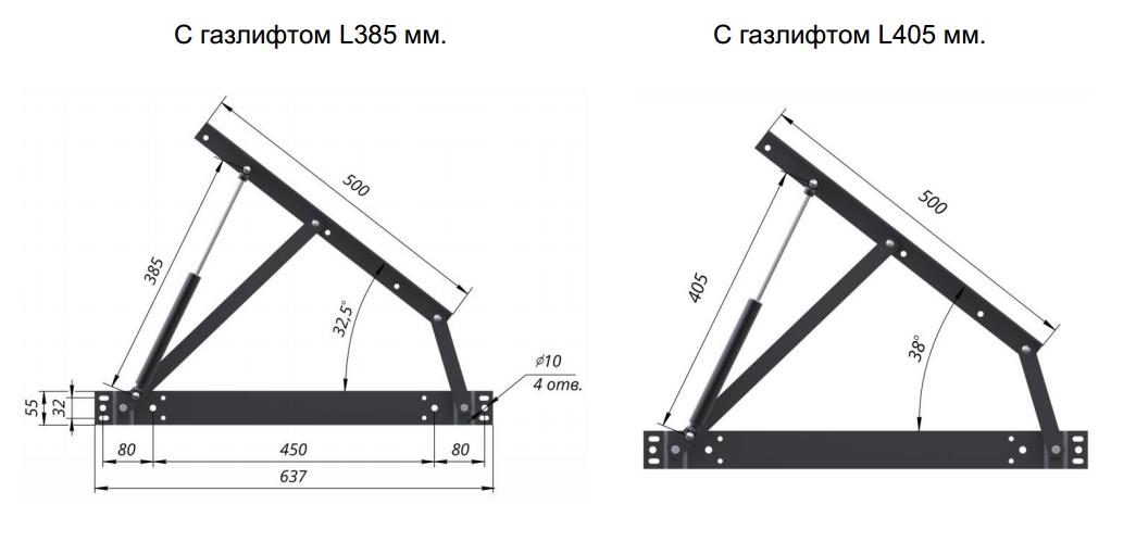 подъёмный механизм для кровати чертеж