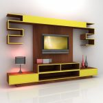 полка под ТВ желтая