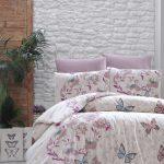постель розовая