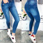 голубые женские джинсы с потертостью