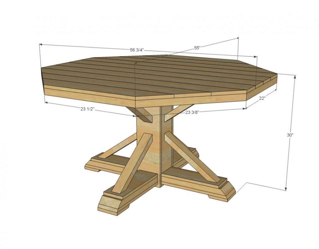 пример чертежа для шестиугольного стола