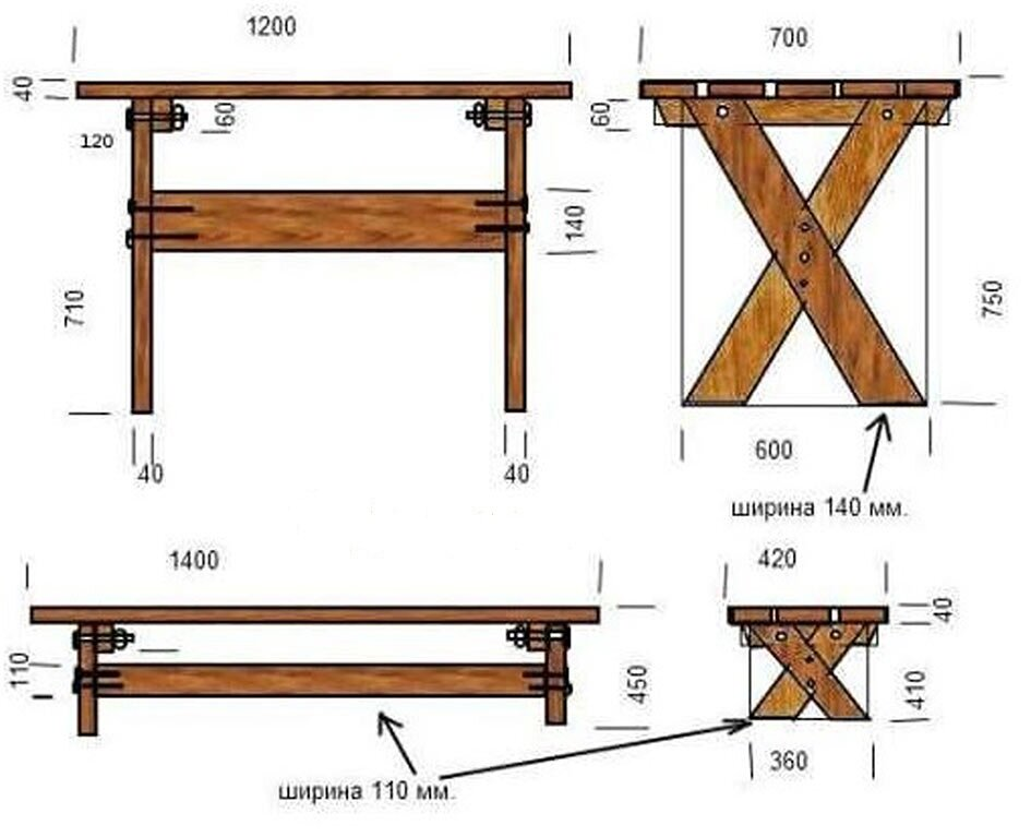 пример чертежа для стола