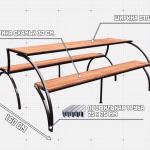 пример чертежа стола-трансформера с двумя лавками