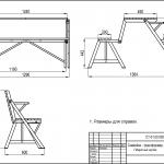 чертеж для самостоятельного изготовления стола-трансформера