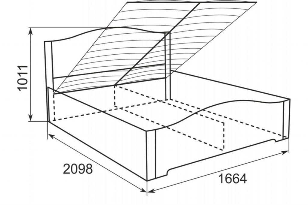 пример эскиза кровати с подъемным механизмом