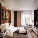 кровать коричневые шторы