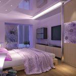 кровать ф фиолетовой комнате