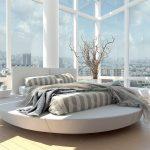 кровать круглаяс сиреневой мебелью