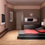 кровать в бежежжвой комнате