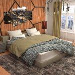 кровать с ковром