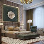 кровать с зеленой стенкой
