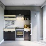 кухонная мебель с серым холодильником