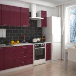 кухонная мебель бордовая