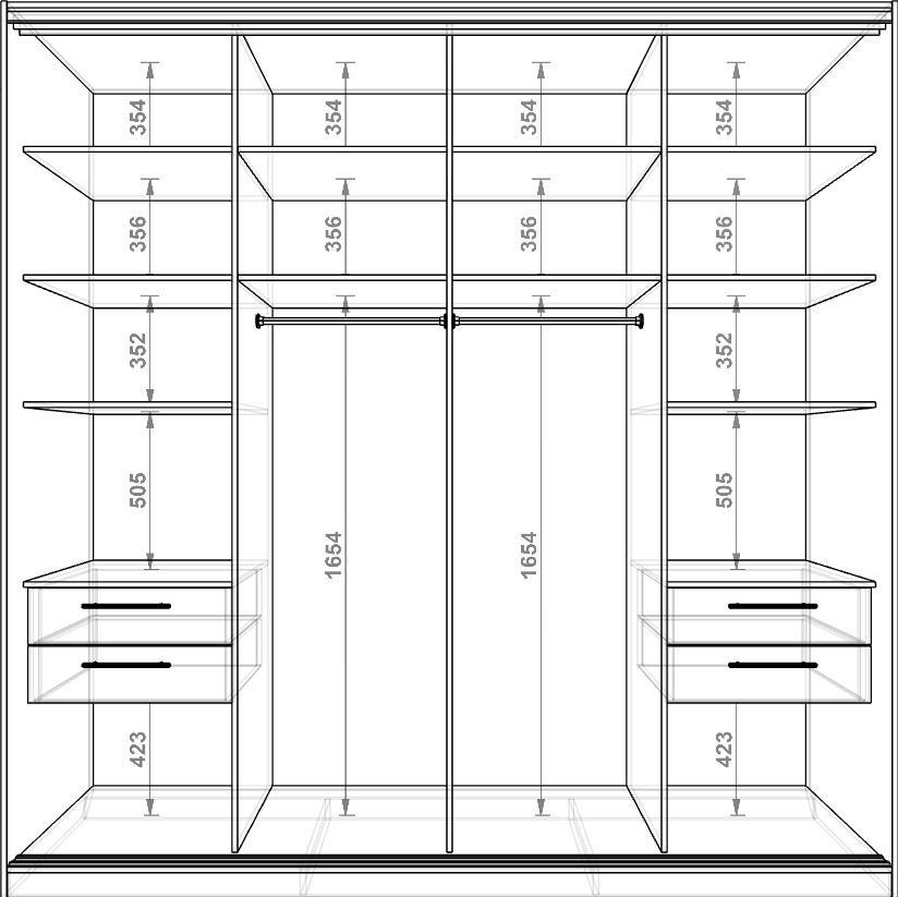 размеры шкафа купе небольшого схема