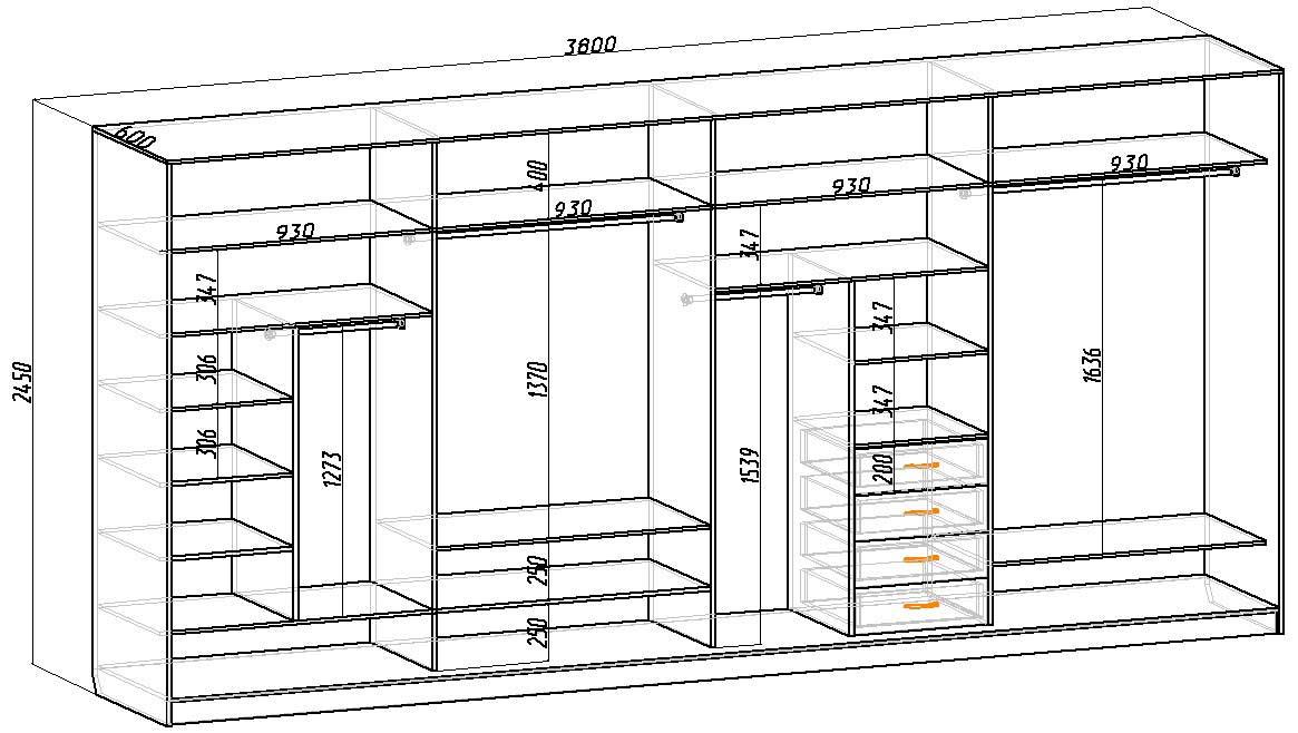 размеры шкафа купе схема