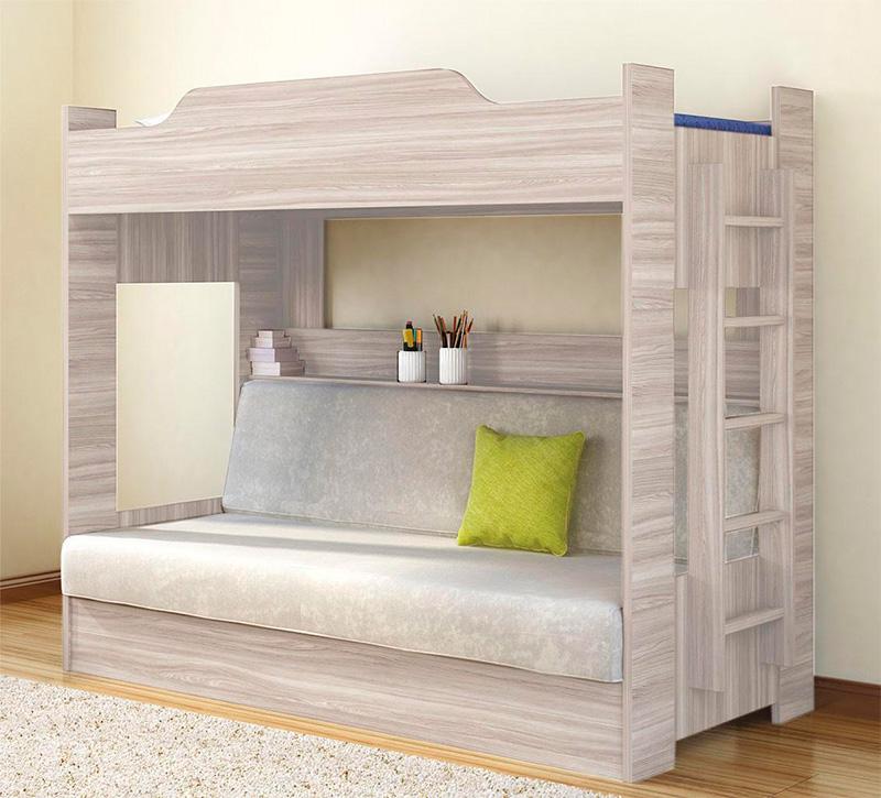 вариант кровати с диваном и полками