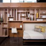 широкий шкаф-кровать для большой комнаты с рабочей зоной