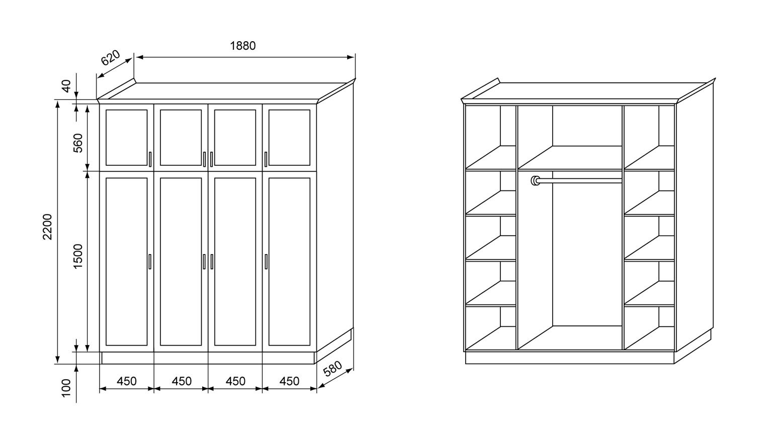 чертеж шкафа из фанеры