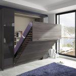 серо-фиолетовый дизайн шкафа-кровати