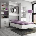 бело-сиреневый шкаф трансформер с одноместной кроватью