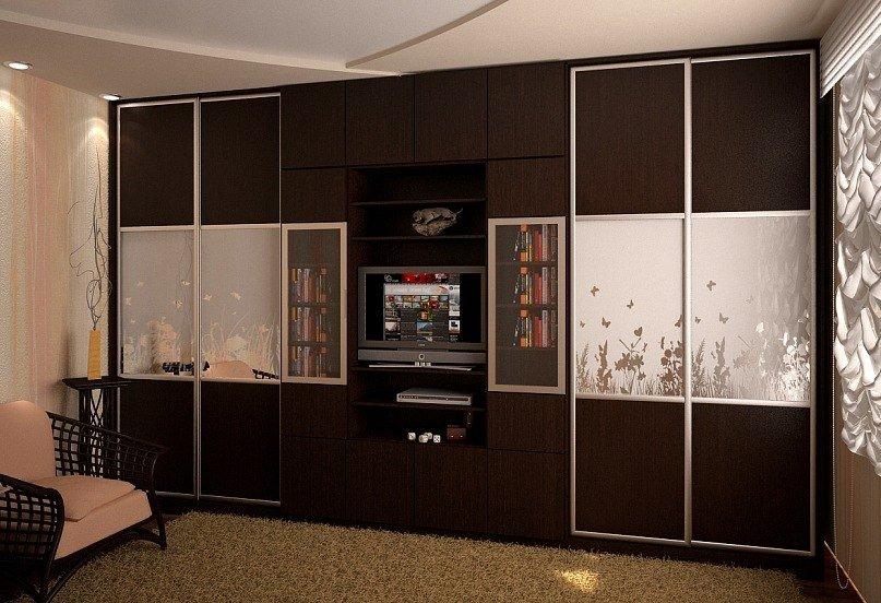 шкаф купе с телевизором дизайн фото