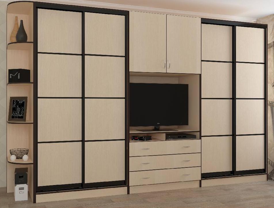 шкаф купе с телевизором идеи дизайна