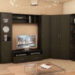 шкаф в угол коричневый