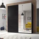 шкаф-купе черный с зеркалом