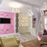 детали в розовых тонах в комнате для девушки