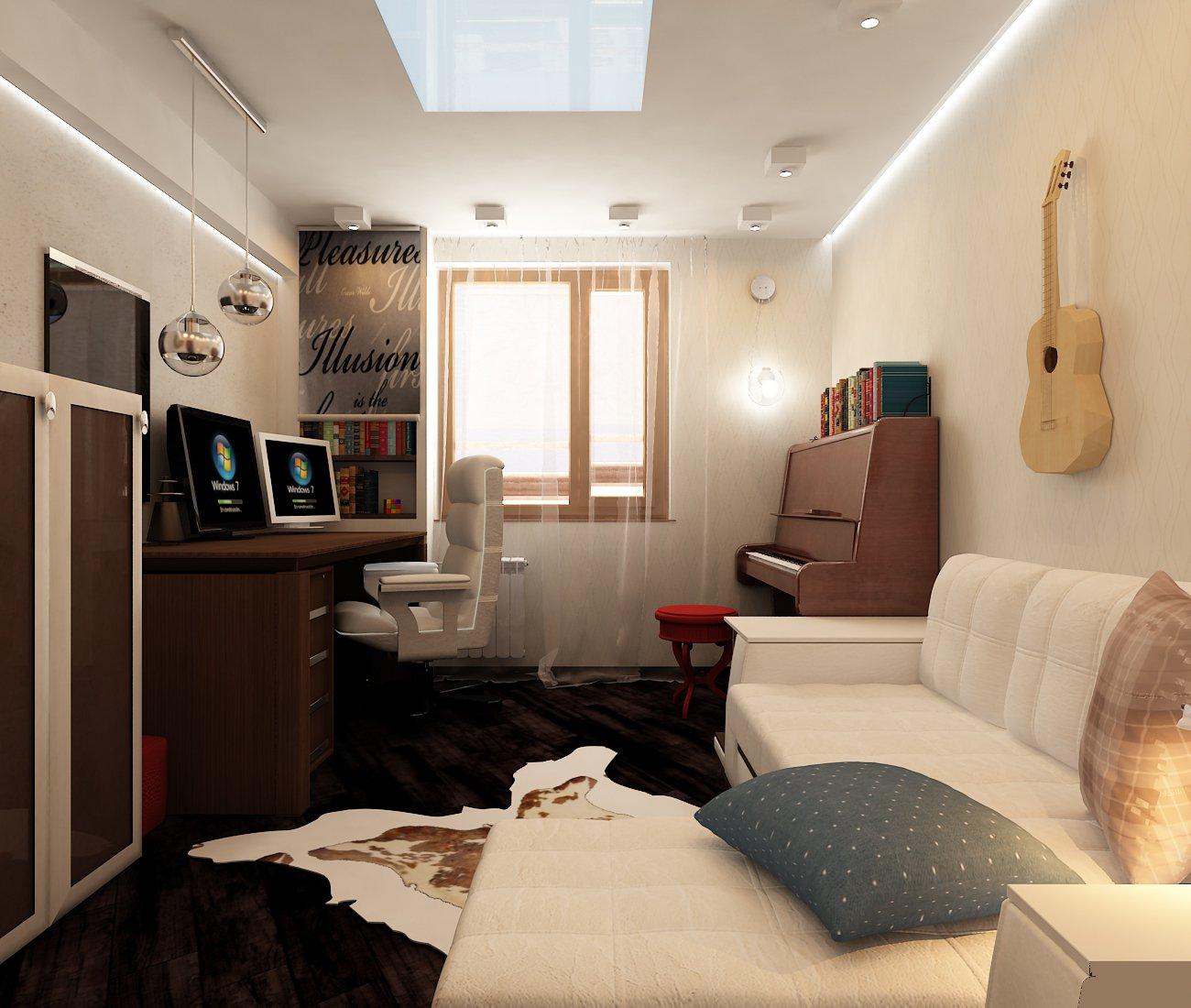 спальня 12 кв м диван